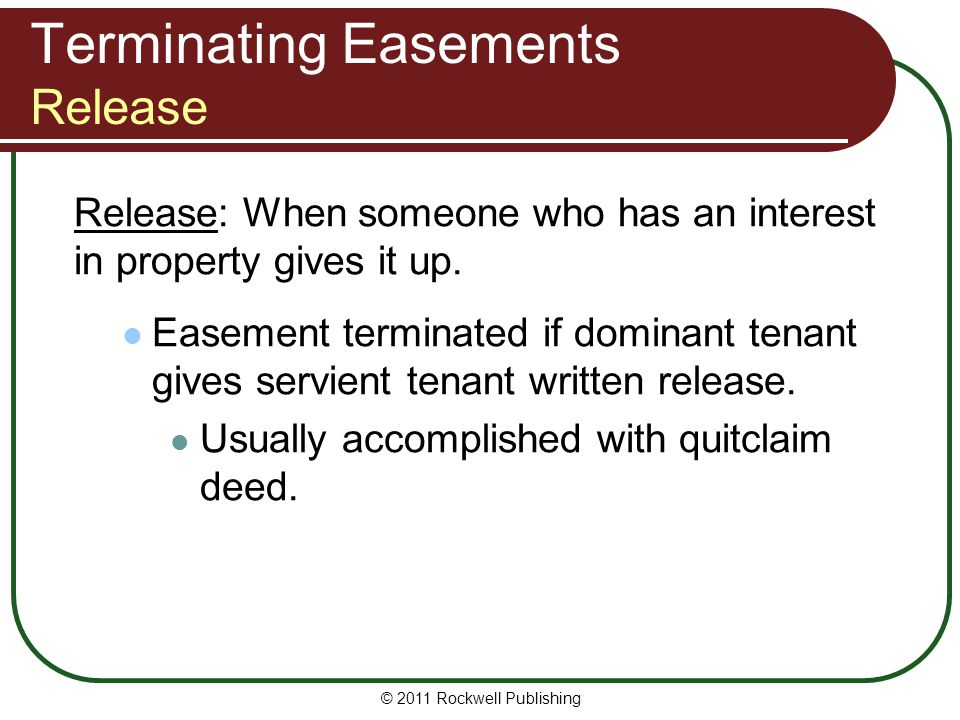 Terminating Easements Release