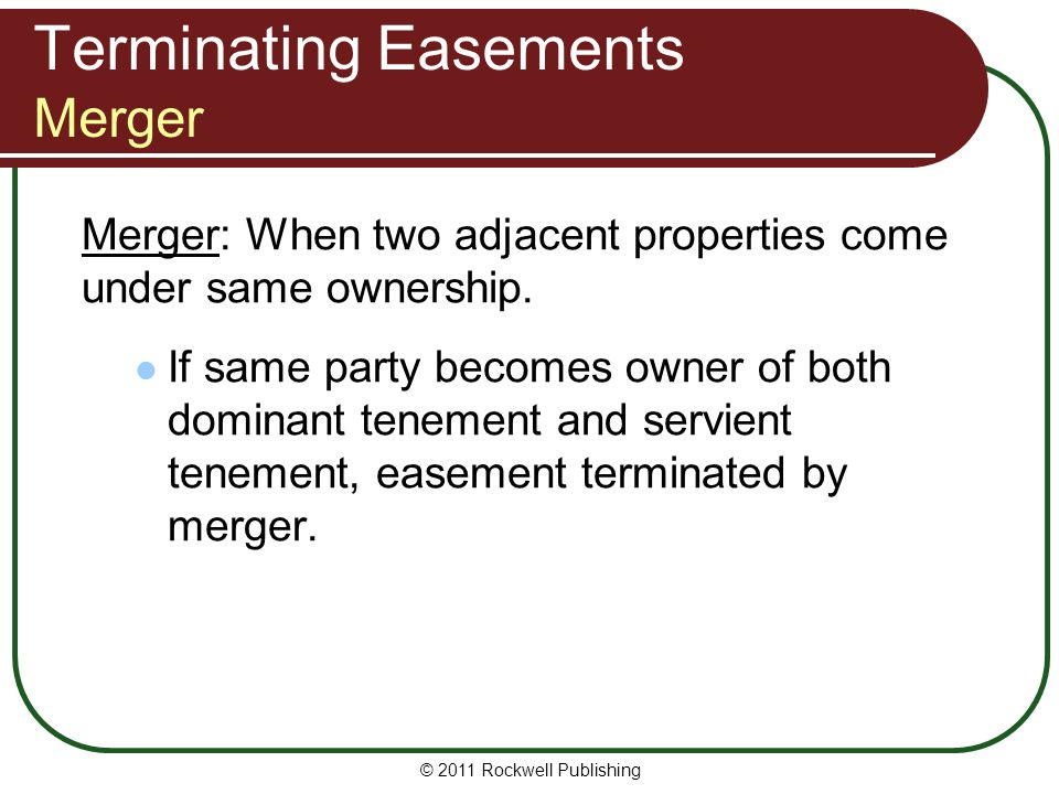 Terminating Easements Merger