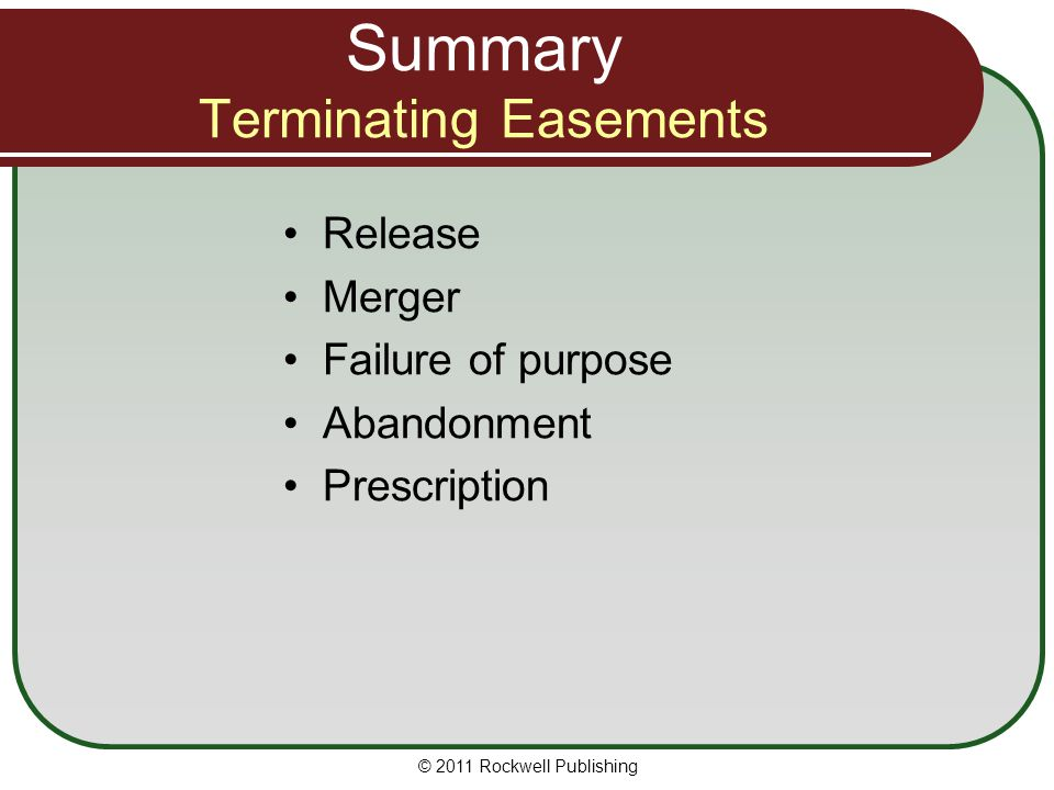 Summary Terminating Easements