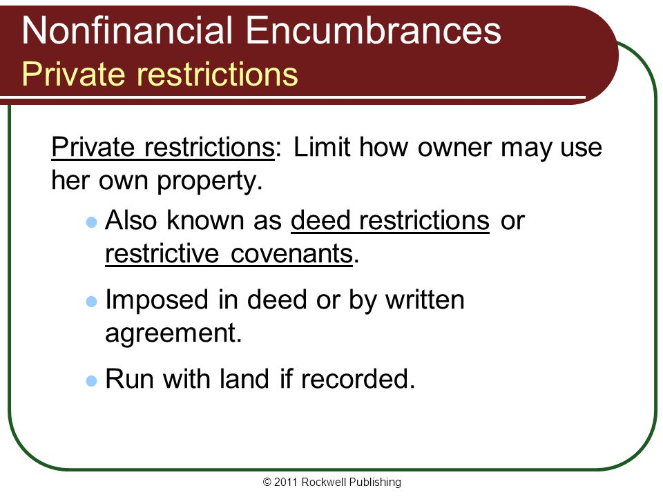 Nonfinancial Encumbrances Private restrictions