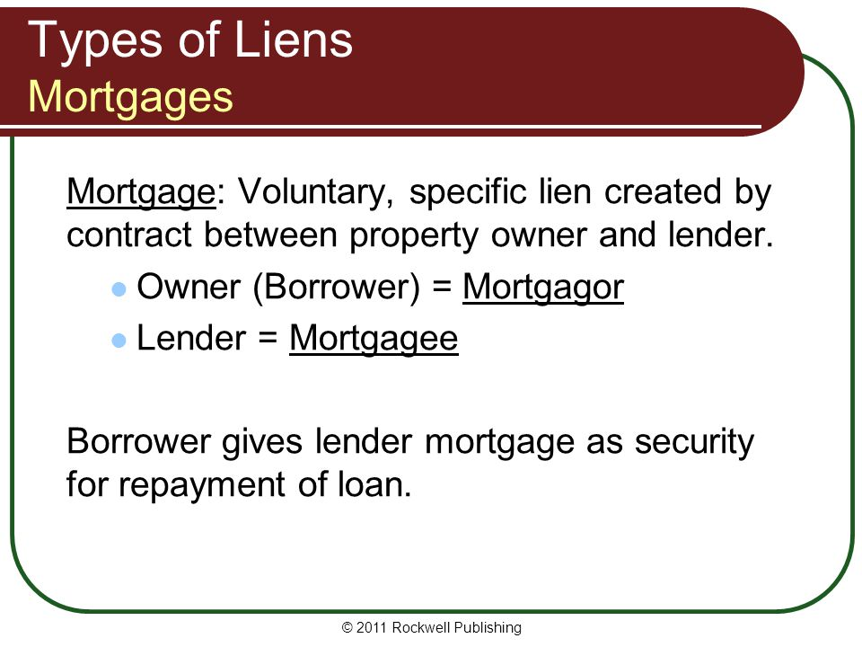 Types of Liens Mortgages