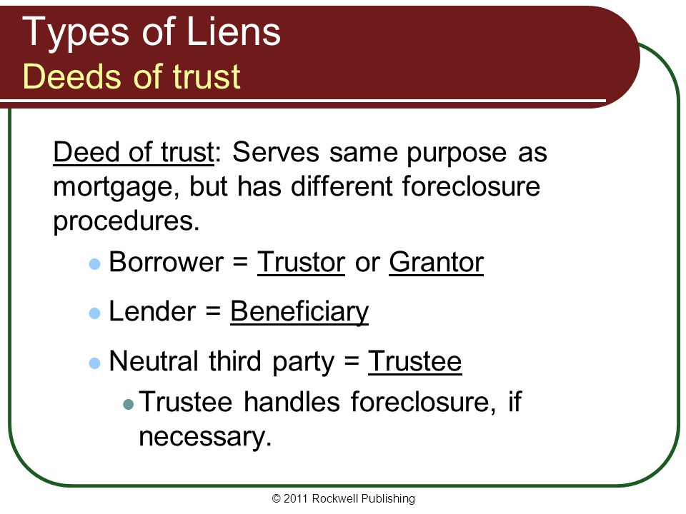 Types of Liens Deeds of trust