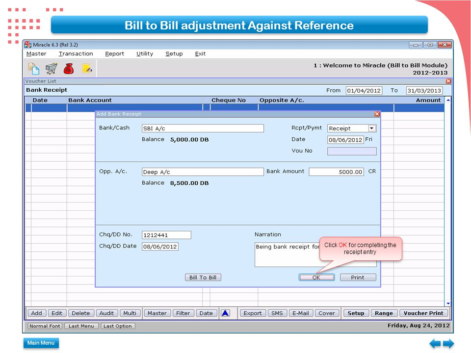 Bill to Bill adjustment Against Reference