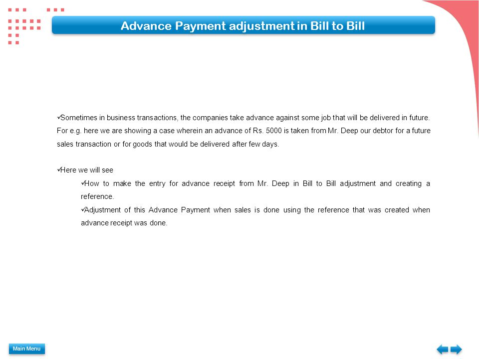 Advance Payment adjustment in Bill to Bill