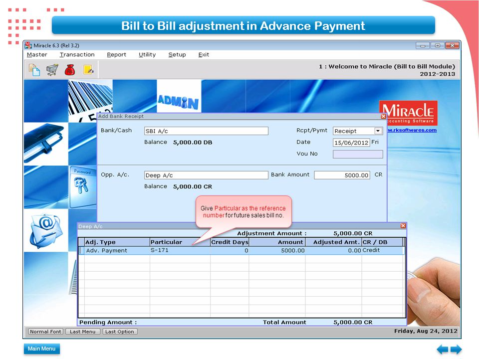 Bill to Bill adjustment in Advance Payment