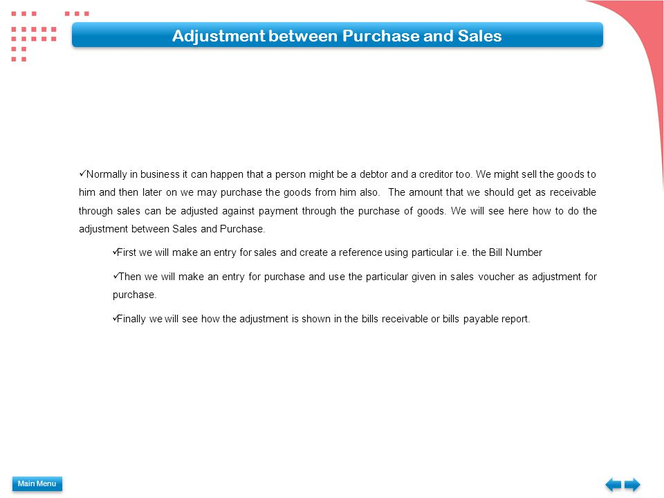 Adjustment between Purchase and Sales