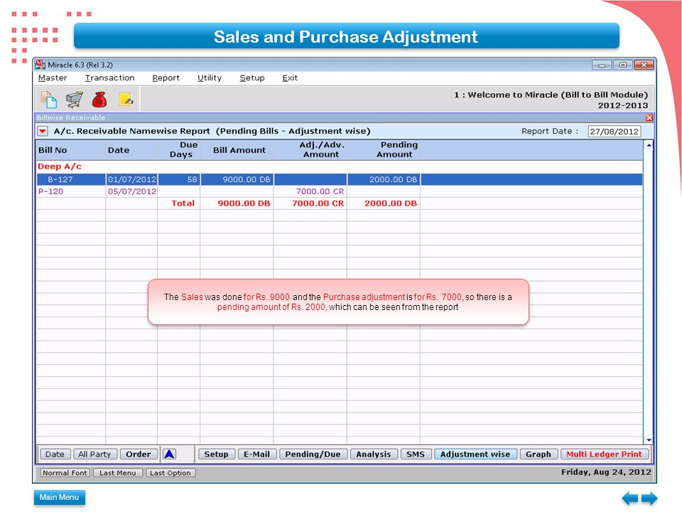 Sales and Purchase Adjustment
