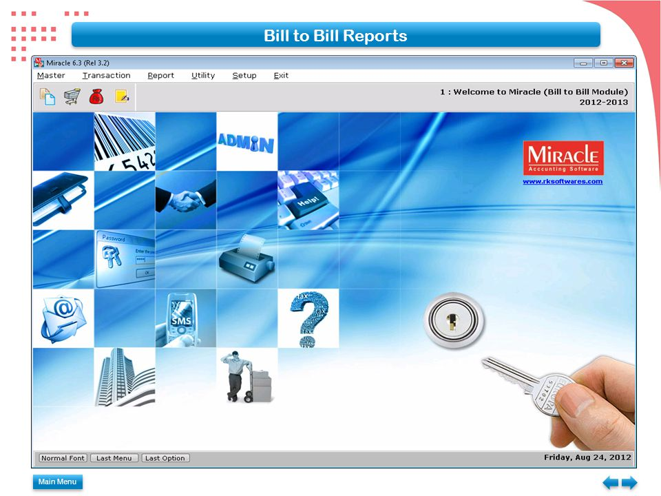 Bill to Bill Reports Main Menu