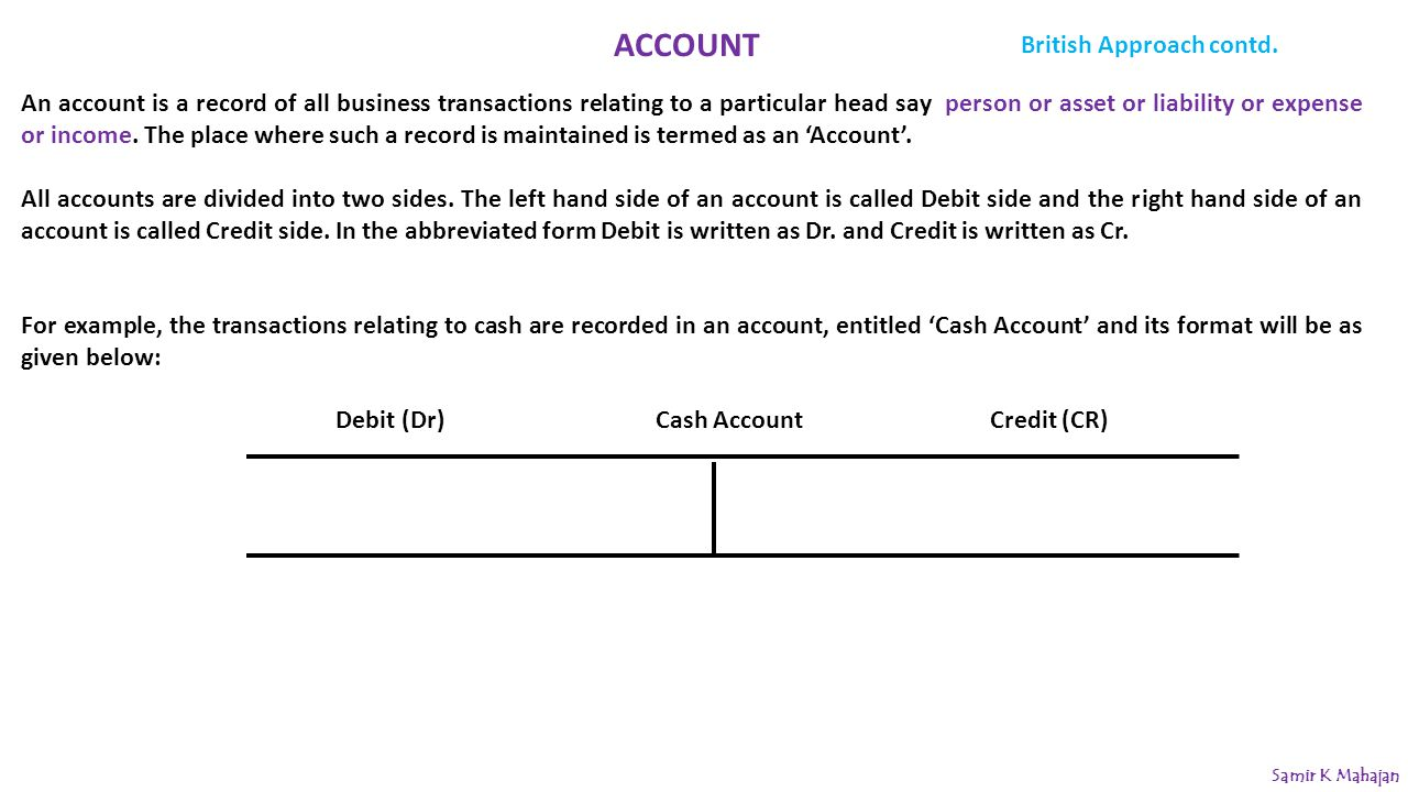 ACCOUNT British Approach contd.