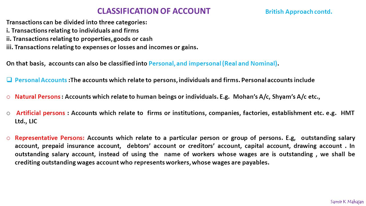 CLASSIFICATION OF ACCOUNT