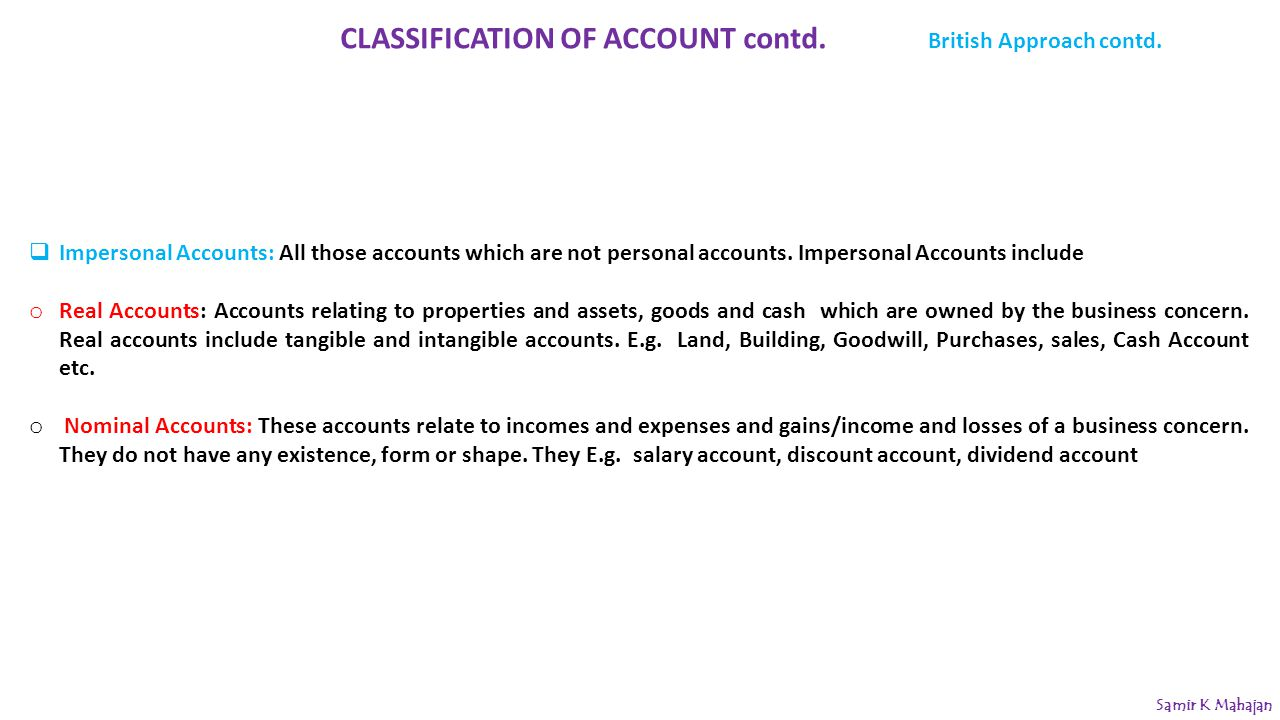 CLASSIFICATION OF ACCOUNT contd.