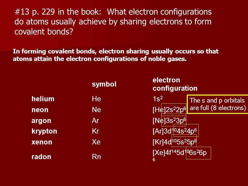 13 p. 229 in the book: What electron configurations - ppt download
