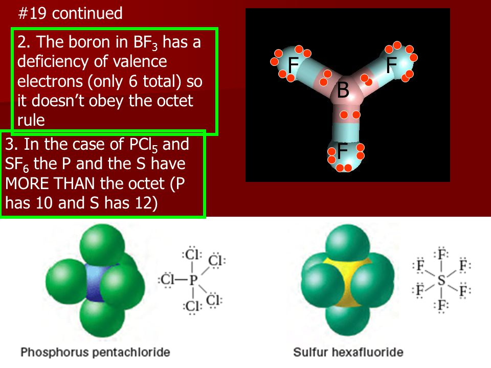 #19 continued 2. The boron in BF3 has a deficiency of valence electrons (only 6 total) so it doesn't obey the octet rule.