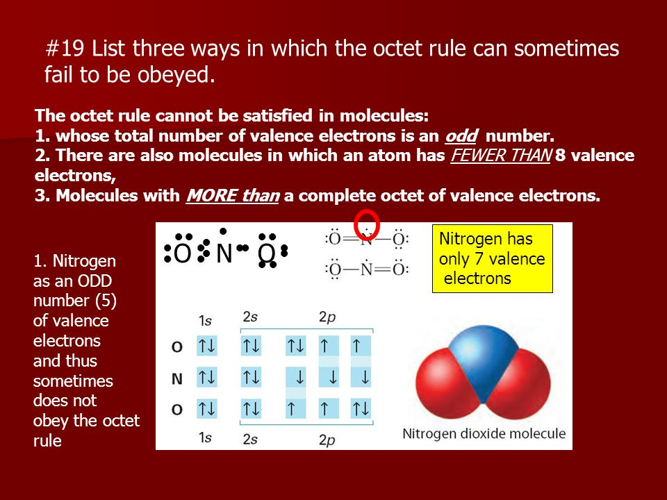 O N O #19 List three ways in which the octet rule can sometimes