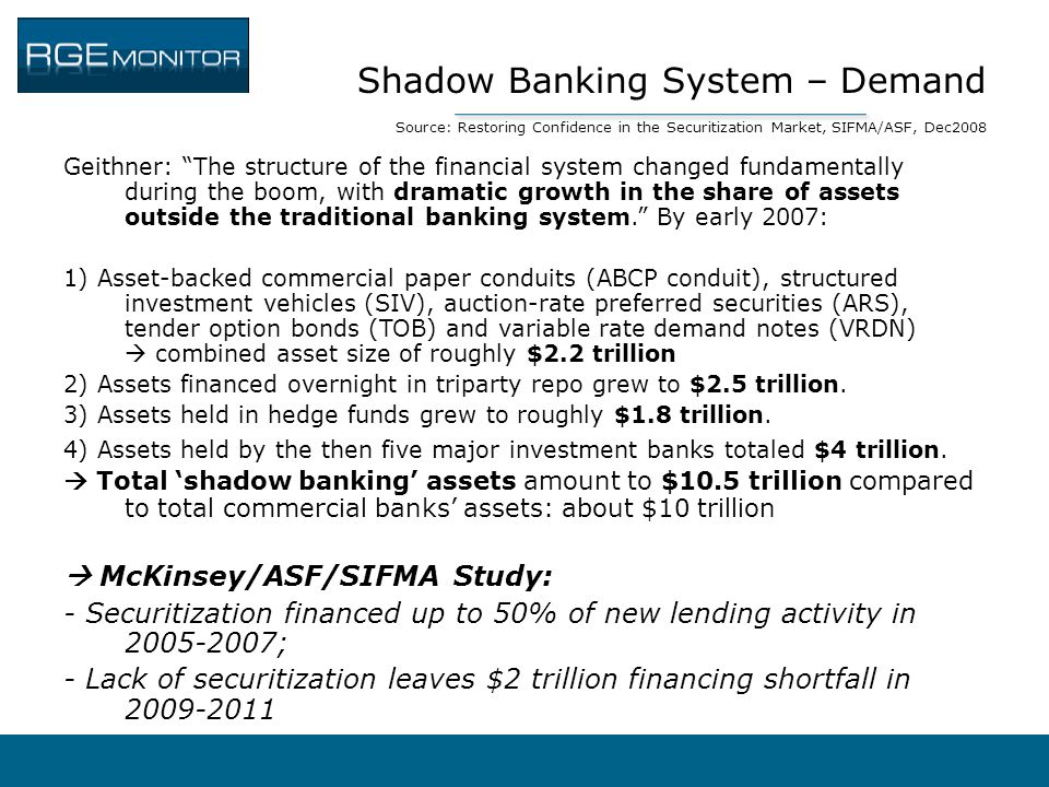 Shadow Banking System – Demand Source: Restoring Confidence in the Securitization Market, SIFMA/ASF, Dec2008