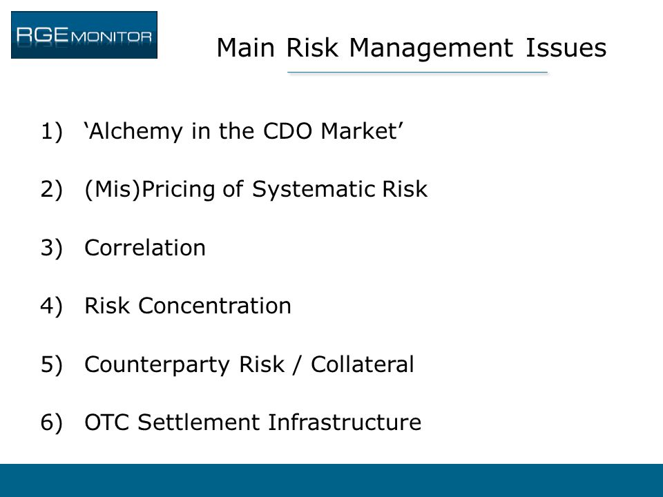 Main Risk Management Issues