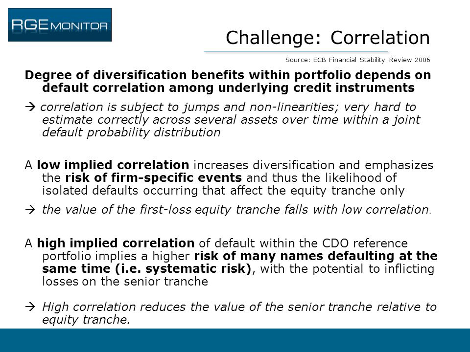 Challenge: Correlation Source: ECB Financial Stability Review 2006