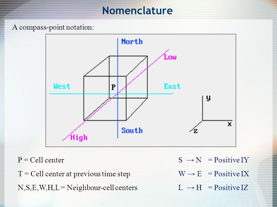 Nomenclature A compass-point notation: P = Cell center