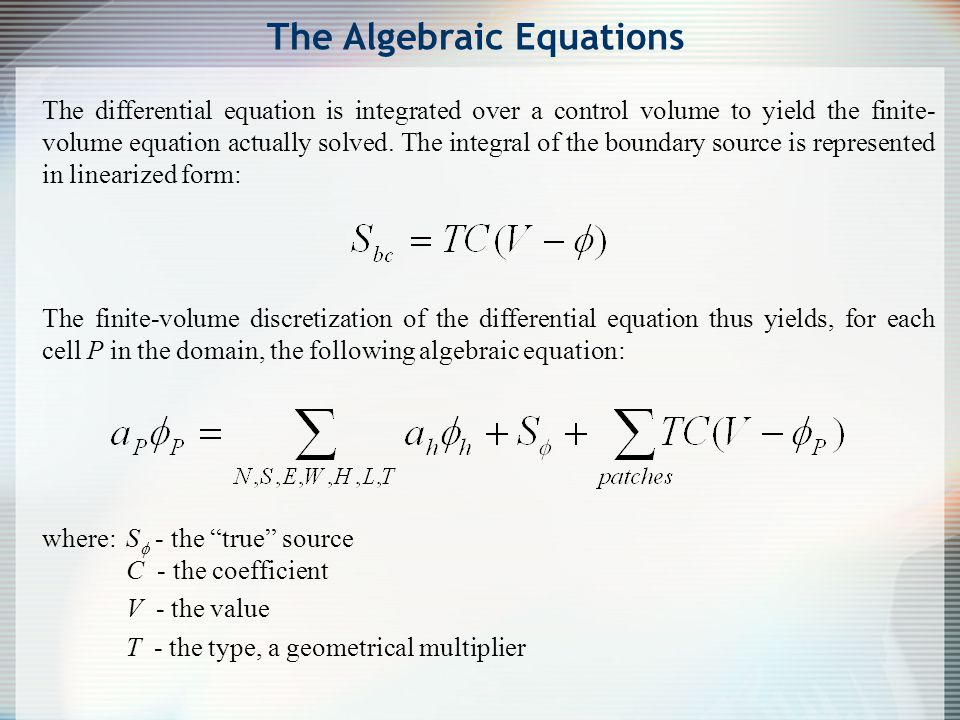 The Algebraic Equations