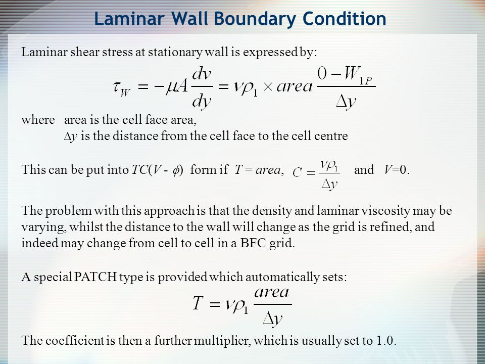 Laminar Wall Boundary Condition