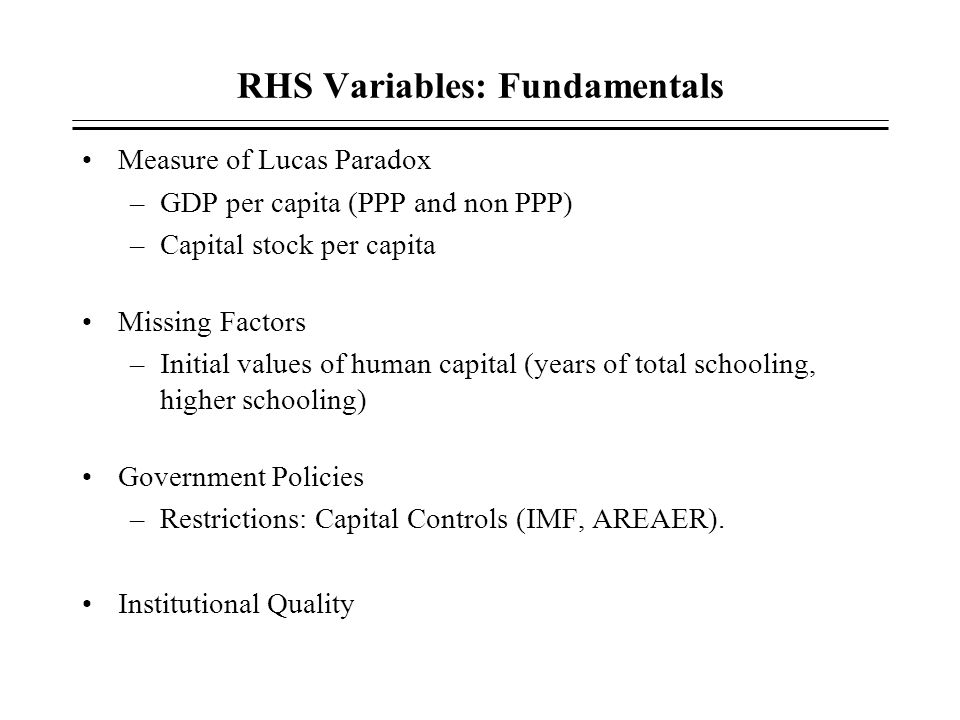RHS Variables: Fundamentals
