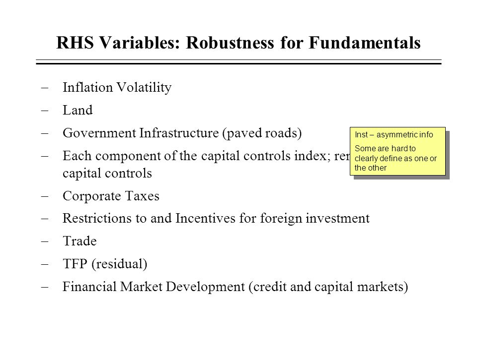 RHS Variables: Robustness for Fundamentals