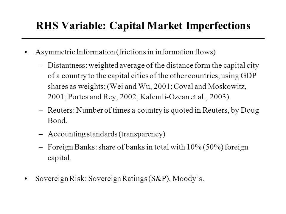 RHS Variable: Capital Market Imperfections
