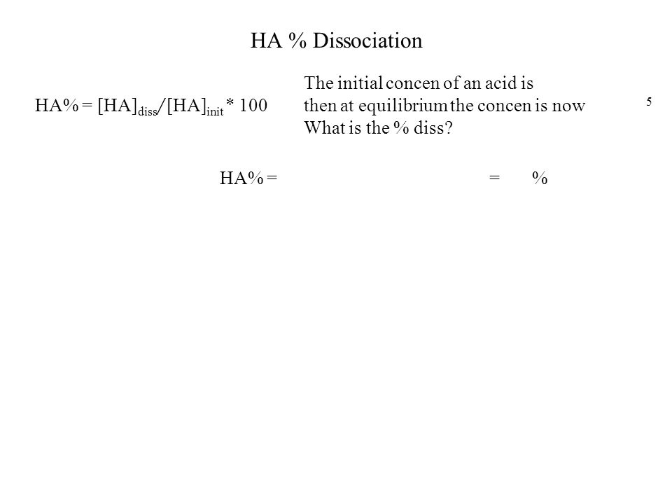 HA % Dissociation The initial concen of an acid is 3.2*10-2