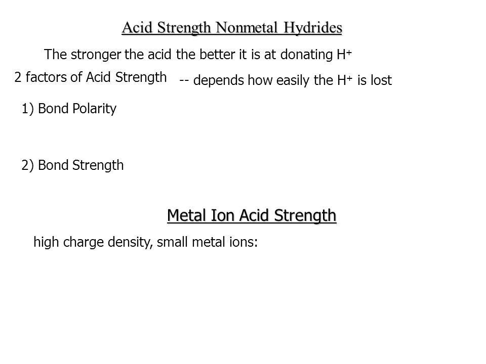 Acid Strength Nonmetal Hydrides
