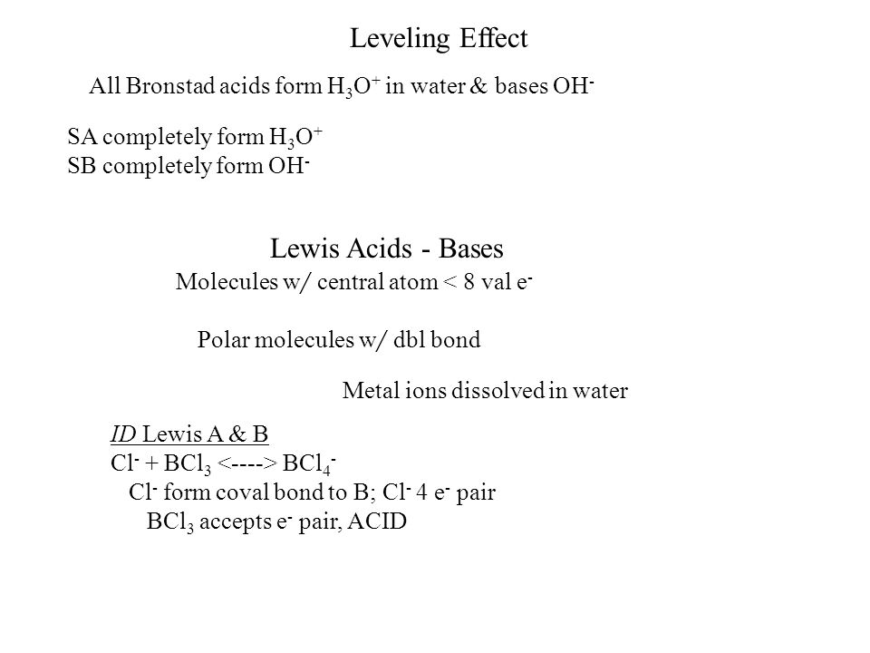 Leveling Effect Lewis Acids - Bases