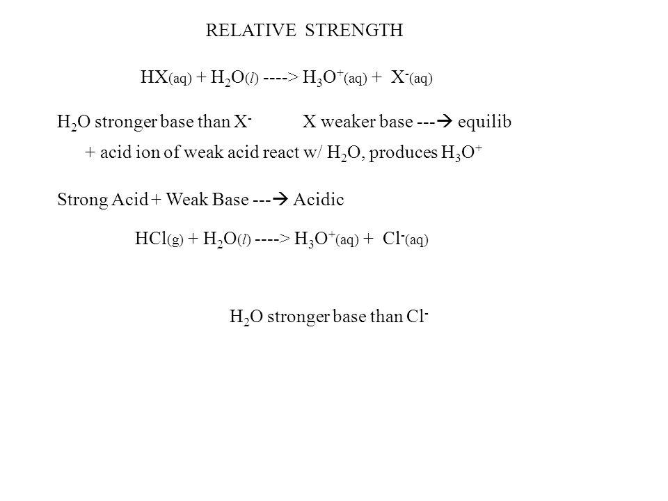 RELATIVE STRENGTH HX(aq) + H2O(l) ----> H3O+(aq) + X-(aq) H2O stronger base than X- X weaker base --- equilib.