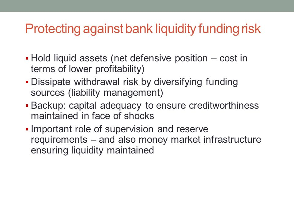 Protecting against bank liquidity funding risk