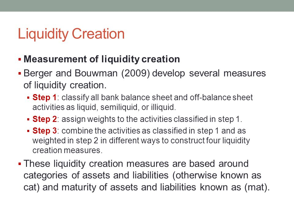 Liquidity Creation Measurement of liquidity creation