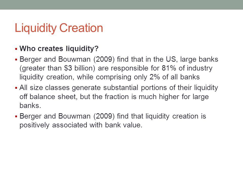 Liquidity Creation Who creates liquidity