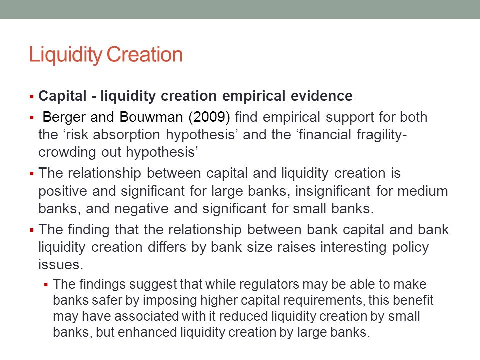 Liquidity Creation Capital - liquidity creation empirical evidence