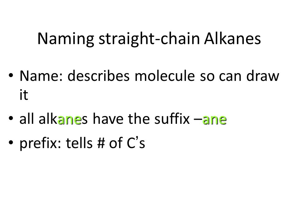 Naming straight-chain Alkanes