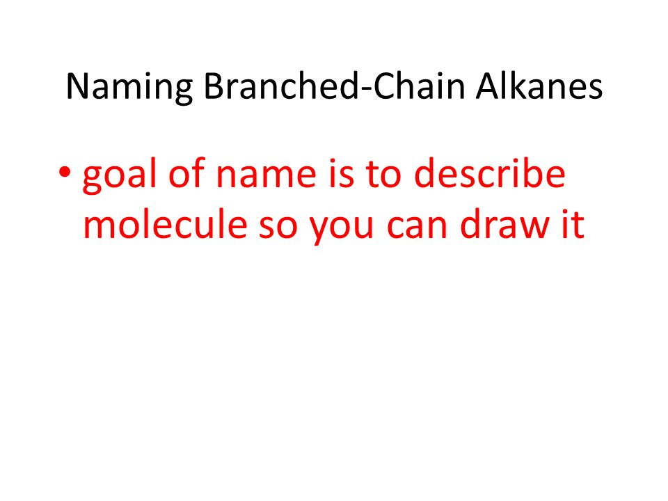 Naming Branched-Chain Alkanes