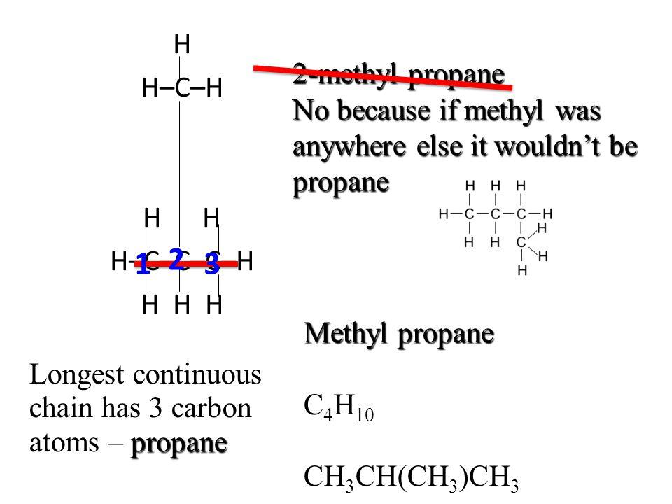 1 2 3 H 2-methyl propane H–C–H