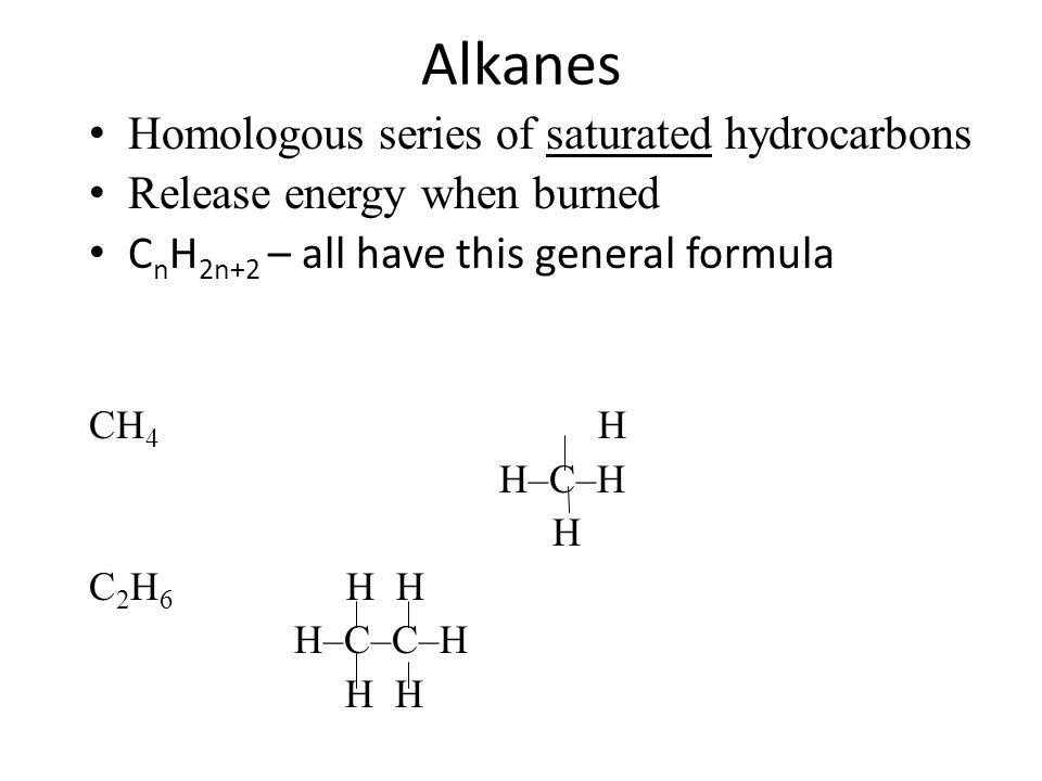 Alkanes Homologous series of saturated hydrocarbons