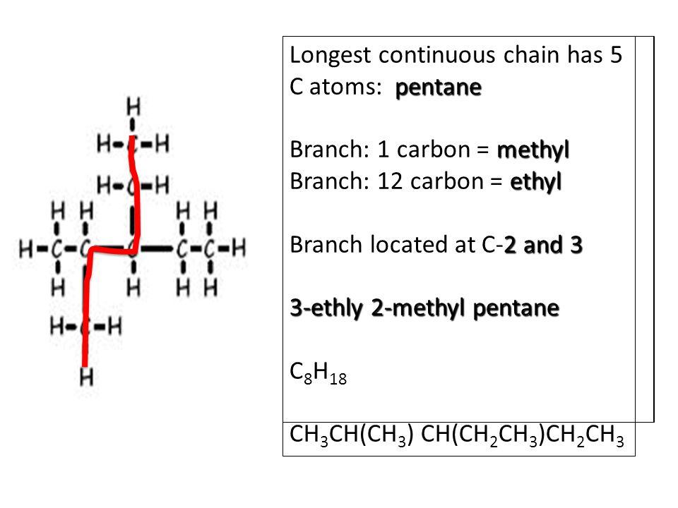 Longest continuous chain has 5 C atoms: pentane