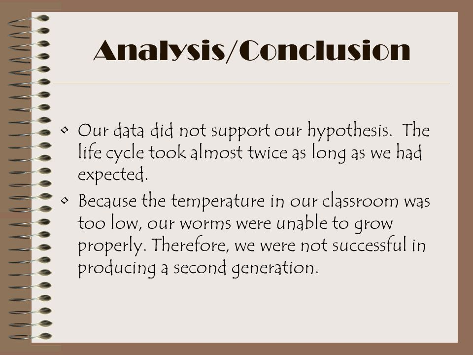 Analysis/Conclusion Our data did not support our hypothesis. The life cycle took almost twice as long as we had expected.