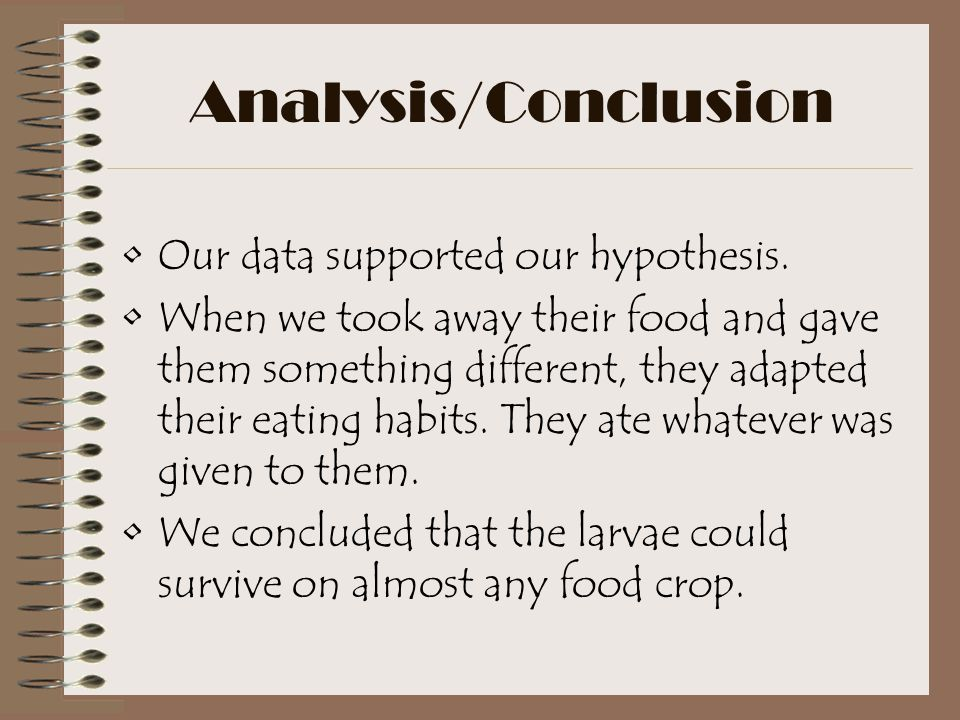Analysis/Conclusion Our data supported our hypothesis.
