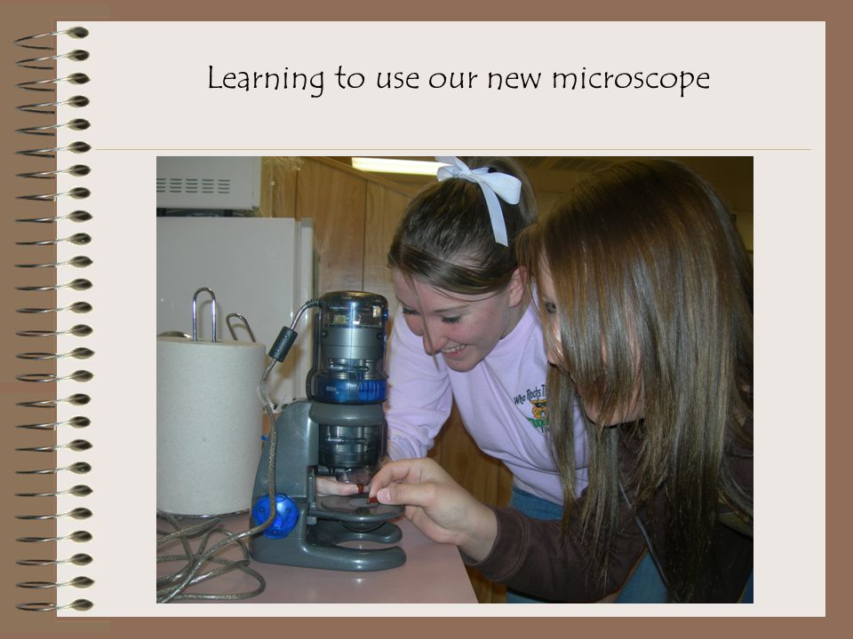 Learning to use our new microscope