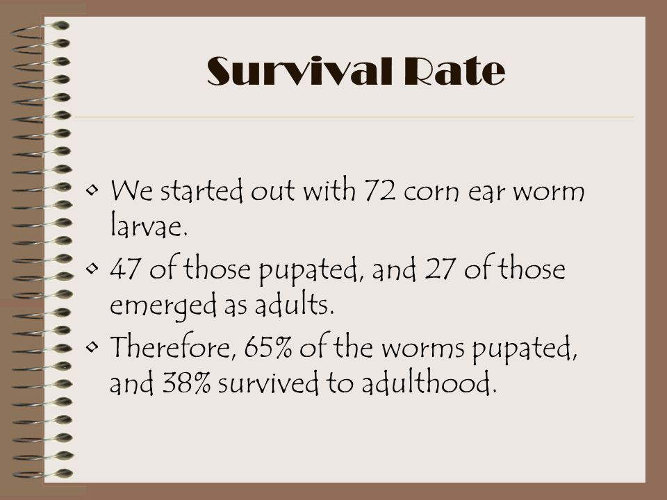 Survival Rate We started out with 72 corn ear worm larvae.