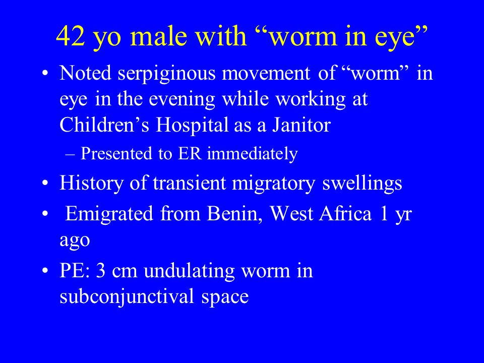 42 yo male with worm in eye
