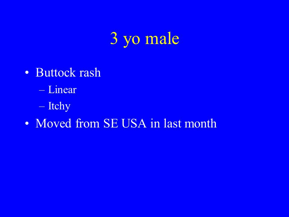 3 yo male Buttock rash Linear Itchy Moved from SE USA in last month