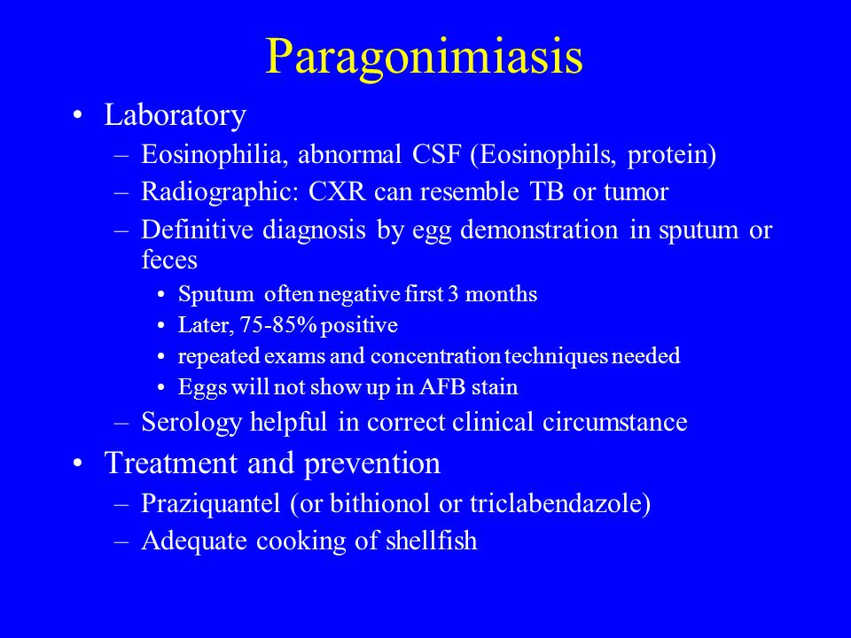 Paragonimiasis Laboratory Treatment and prevention