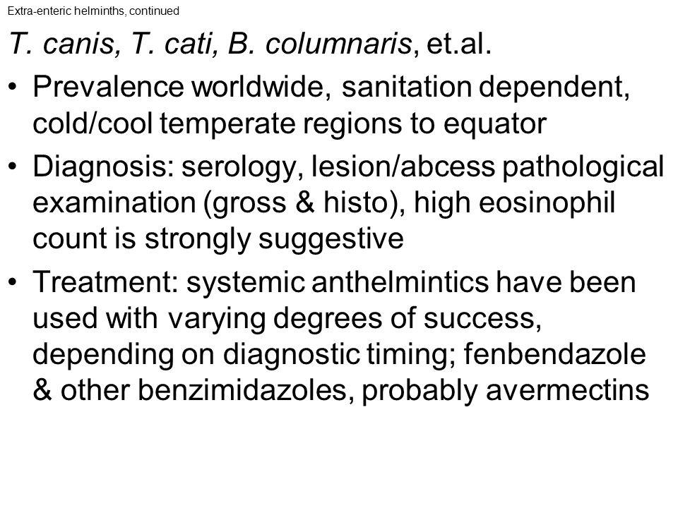 T. canis, T. cati, B. columnaris, et.al.