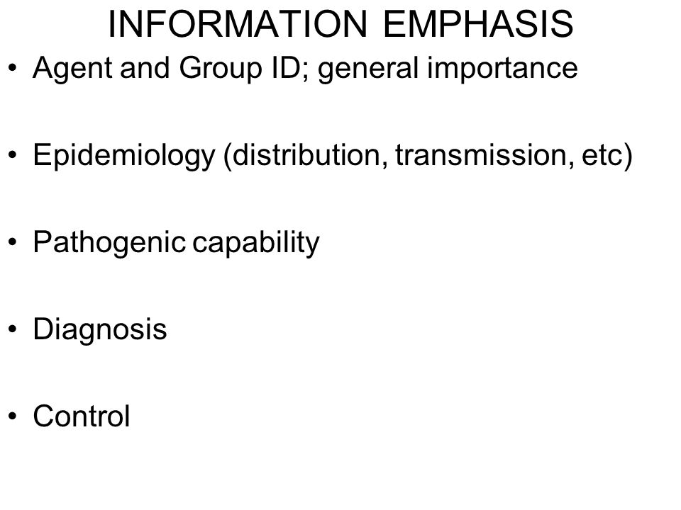 INFORMATION EMPHASIS Agent and Group ID; general importance