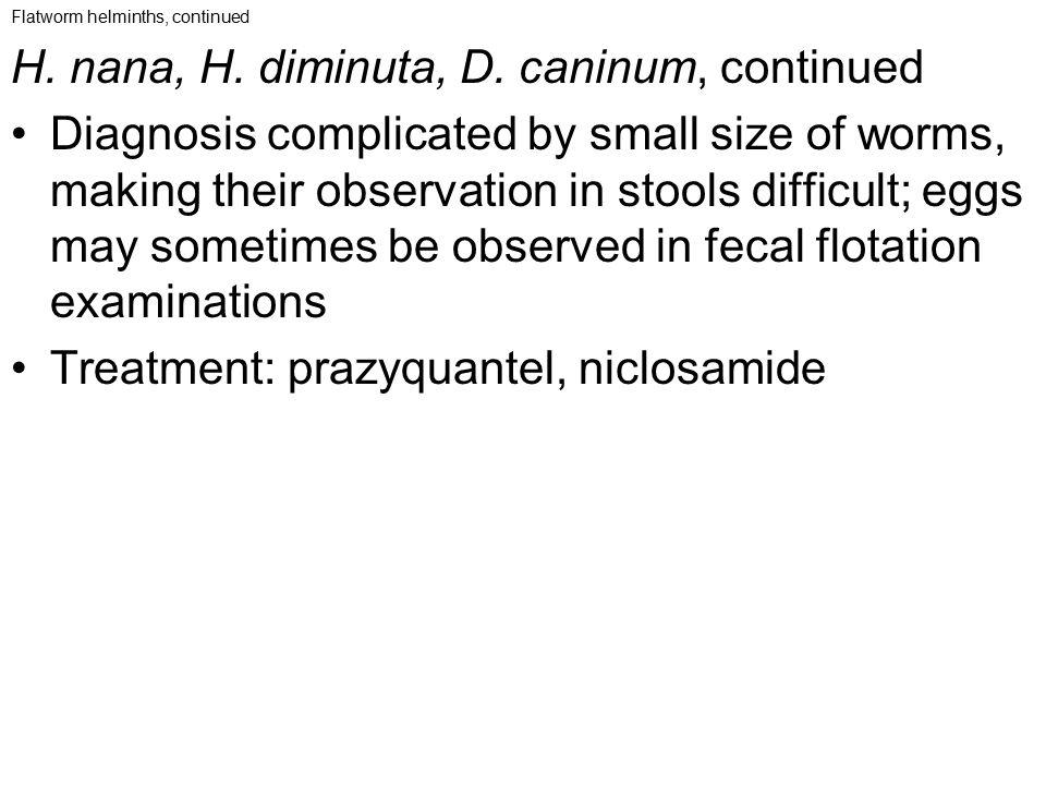 H. nana, H. diminuta, D. caninum, continued